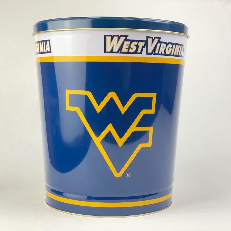 West Virginia University three gallon popcorn tin