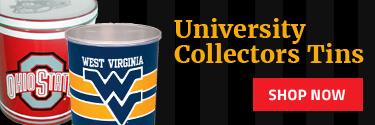 College themed pop corn tins