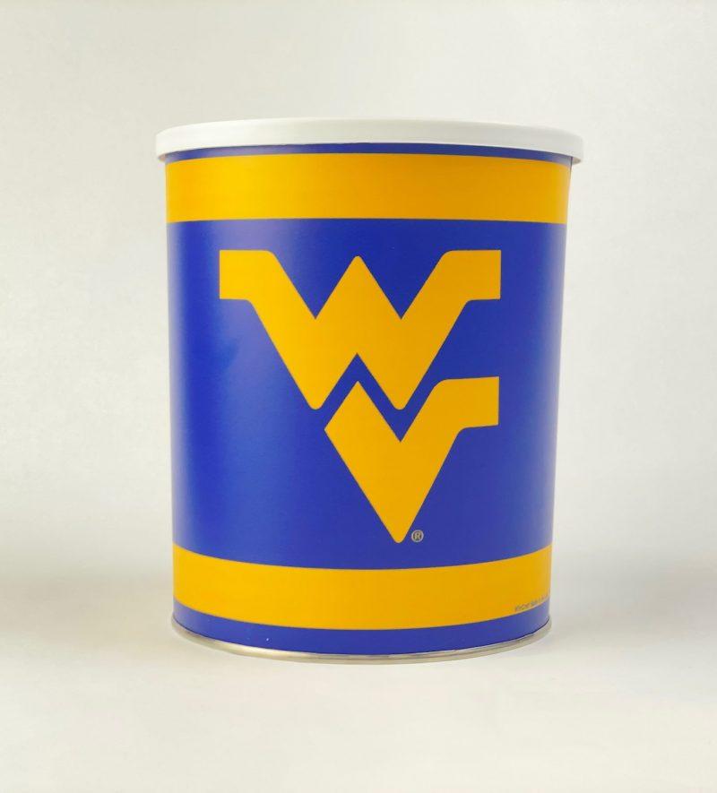 West Virginia University One Gallon popcorn Tin